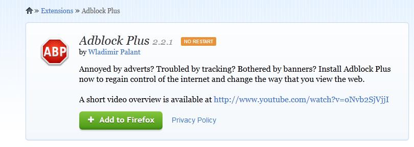Mozilin dodatak za blokiranje reklama