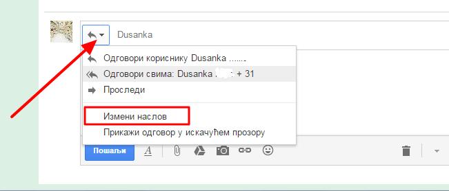 izmeni naslov poruke