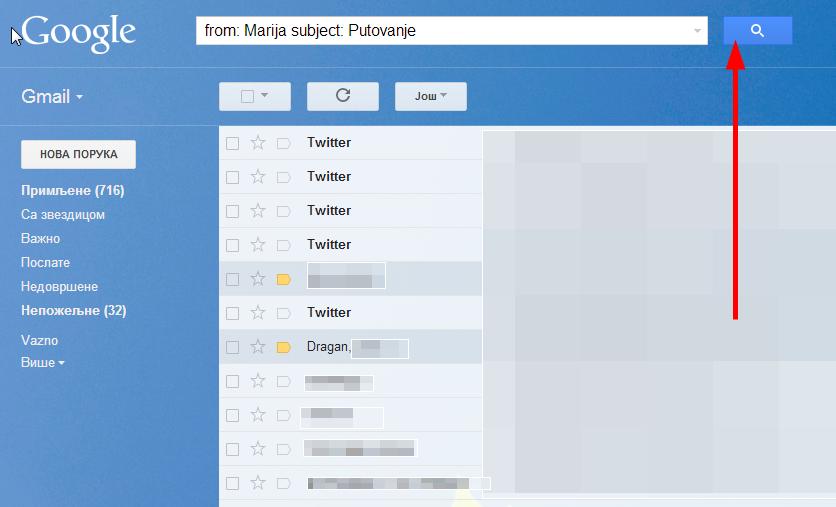 Napredna pretraga Gmail-a