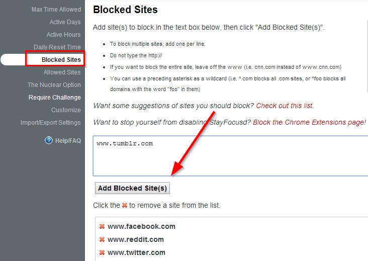 dodajte blokirane sajtove
