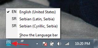 odabir cirilice windows 7