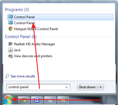 control panel windows 7