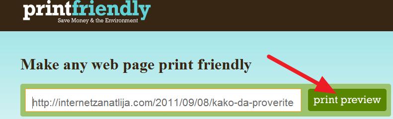 obrisati deo stranice za stampanje