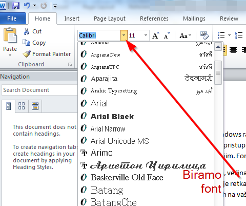 biramo font dok kucamo tekst