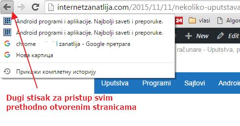 prethodno otvorene stranice