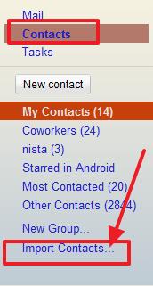 uvoz kontakata u gmail