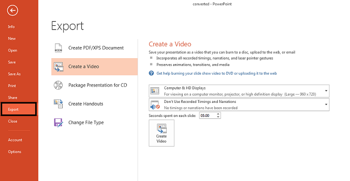 konvertovati powerpoint u video format