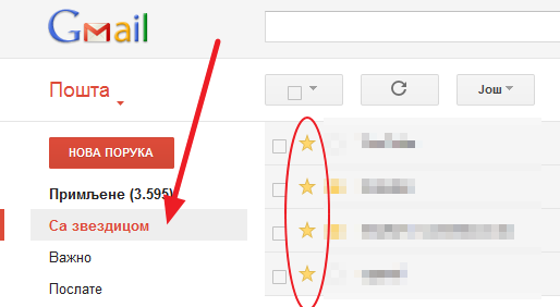 Obeležite Gmail poruke zvezdicama i znakovima različite boje