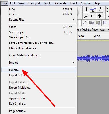 izvoz u mp3 audacity
