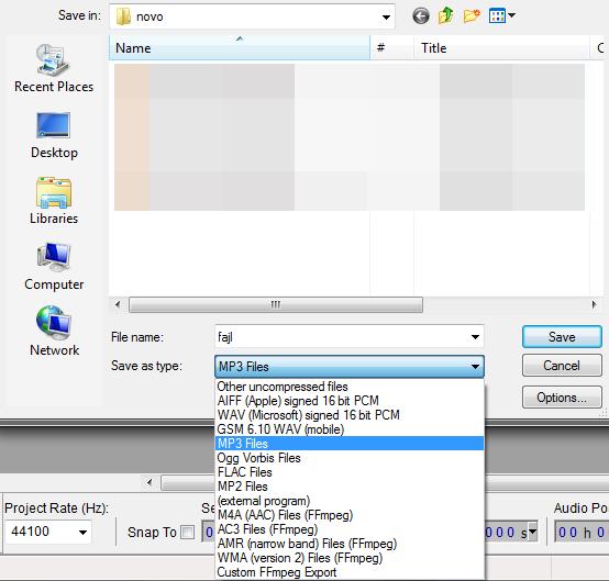 odabir formata u padajucem meniju Audacity   Program za snimanje i obradu zvuka