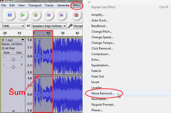 ukloniti šum iz snimka Audacity   Program za snimanje i obradu zvuka