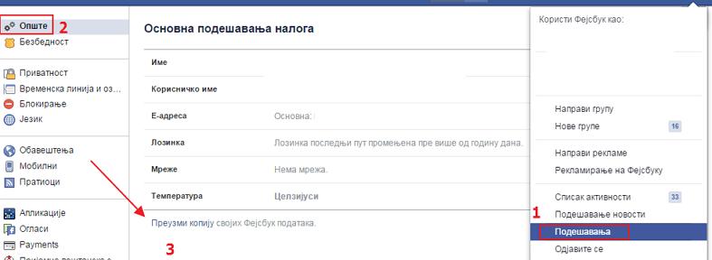 preuzmi kopiju fejsbuk podataka
