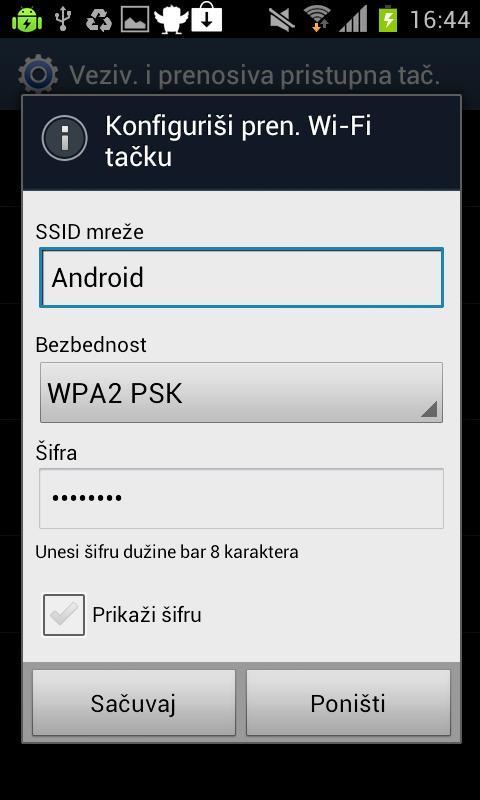 sada ukucajte sifru Kako da koristite svoj Android telefon kao Wireless Hotspot?