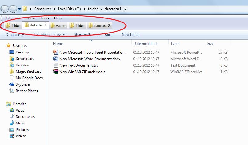 Kako da napravite tabove u Windows Exploreru?