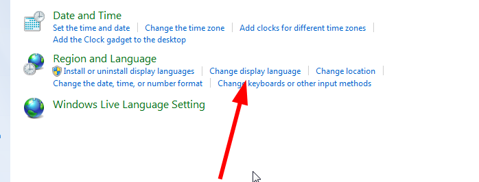 change display language