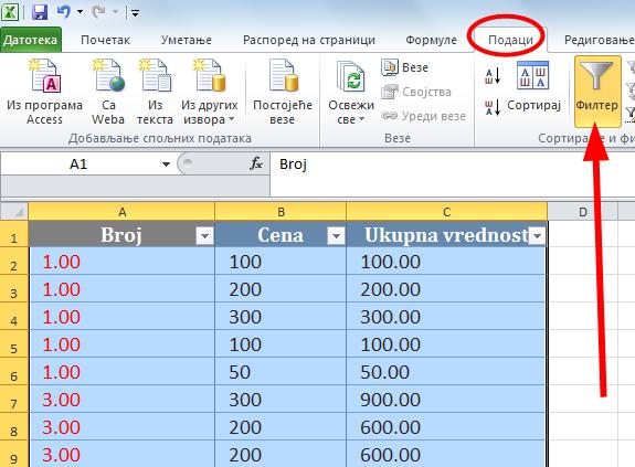 data - filter