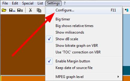 settings podesavanja mp3directcut