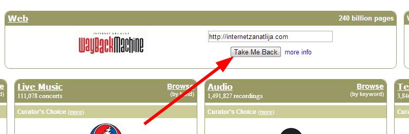 pretraga stare verzije sajta