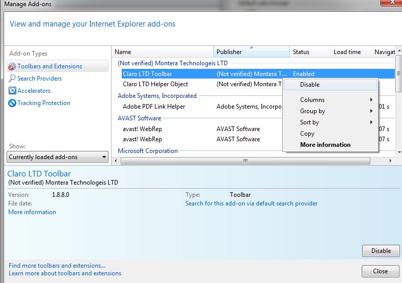 obrisati dodatke internet explorer