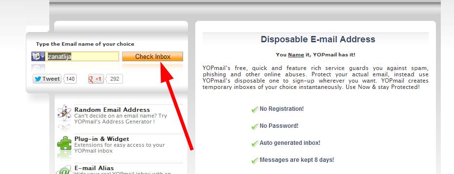 YOPmail - privremena email adresa