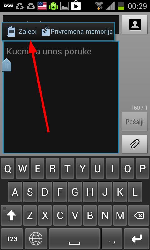 nalepiti tekst android