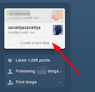 napravi sekundarni tumblr blog