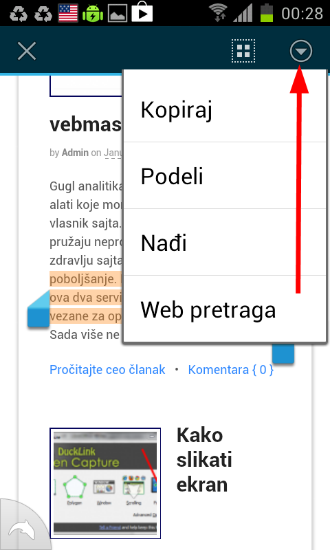 kopirati tekst android