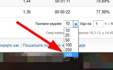 500 redova u tabeli