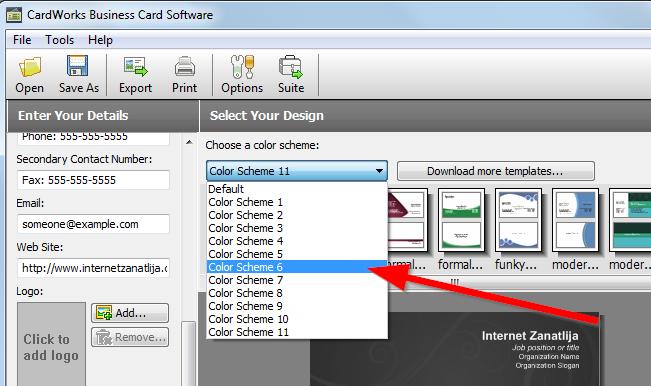 boja vizit karta CardWorks – besplatan program za izradu i dizajn vizit karti