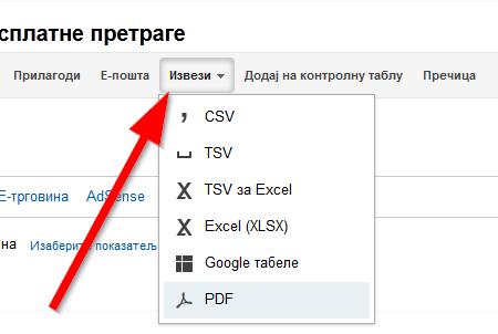 izvezi tabelu u pdf, csv, excel formatu