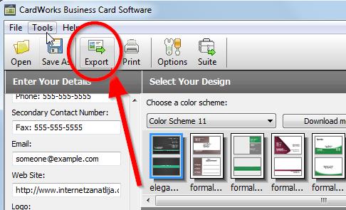 izvoz vizitki CardWorks – besplatan program za izradu i dizajn vizit karti