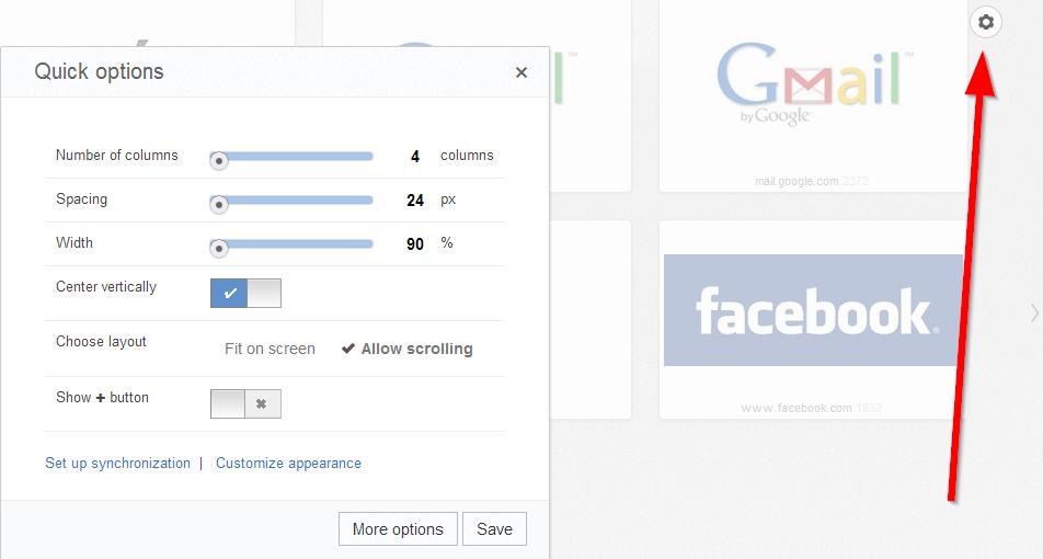 opcije google chrome dodatak za novi tab