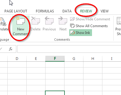 review new comment excel