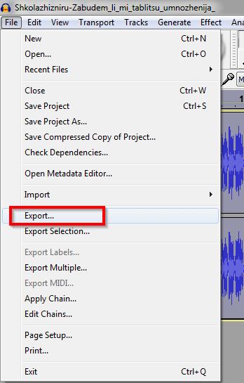 izvezi pesmu u mp3 formatu audacity