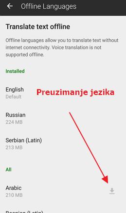 preuzimanje jezika za prevod