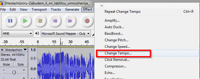 Usporite pesmu ili drugi muzički snimak pomoću programa Audacity