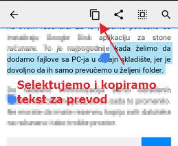 selektujemo i kopiramo tekst za prevod