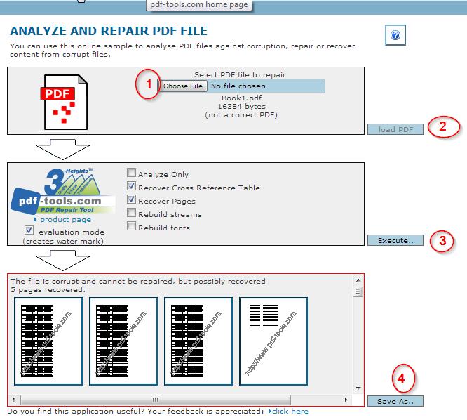PDF Tools Online - Repair PDF