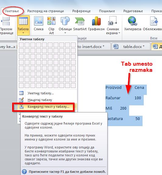 konvertuj tekst u tabelu