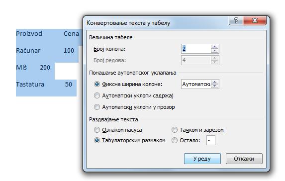 opcije konverzije teksta u tabelu