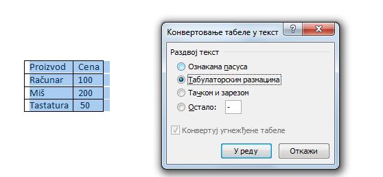 opcije nove tabele