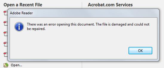 Kako otvoriti oštećeni PDF fajl?