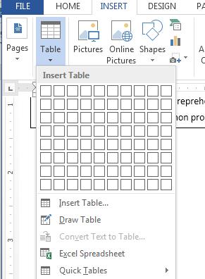 insert tabelu u wordu