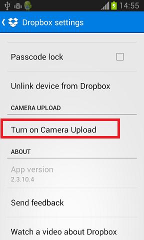 kamera aploadovanje dropbox