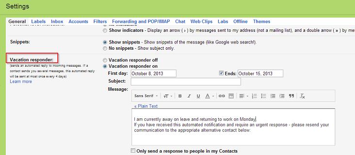 podsetnik na odmoru gmail
