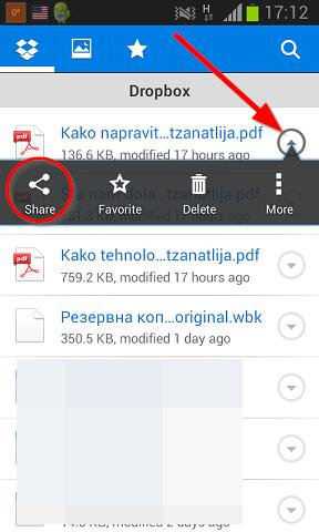 deliti fajl android dropbox