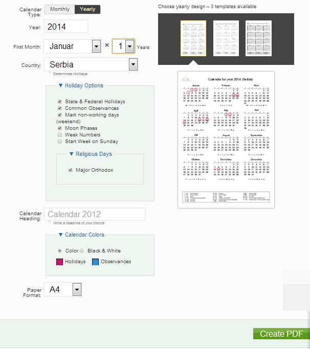 Napravite kalendar u PDF formatu za štampanje onlajn