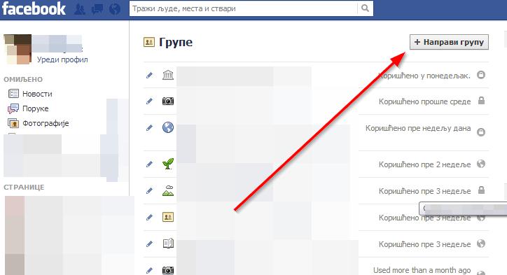 napravi grupu fejsbuk