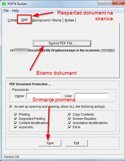 razbiti pdf dokumenat na nekoliko delova