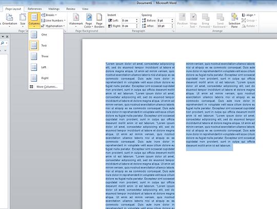 Rad sa kolonama  teksta u Word-u